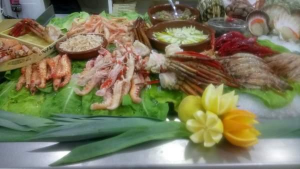 fish counter at De Huelva Malaga